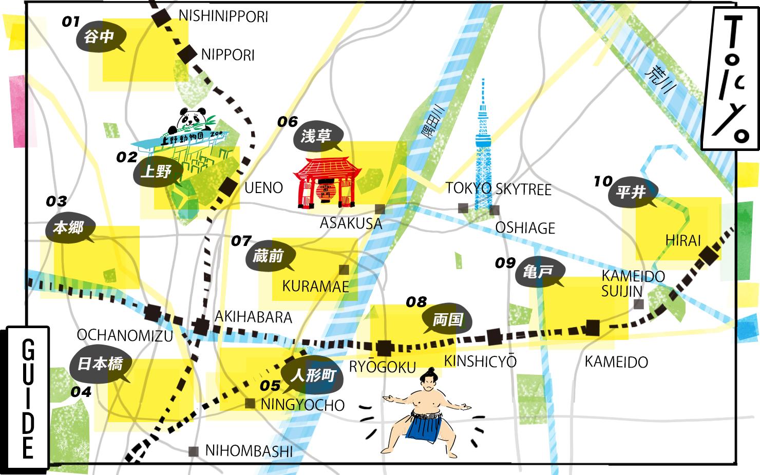 東京下町観光全体MAP